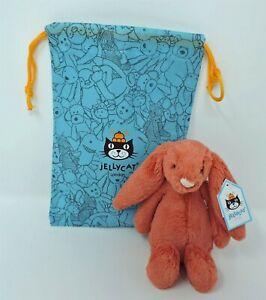 "Jellycat Bashful Cinnamon Bunny Rabbit 8"" Soft Toy Stuffed Animal With Bag New"