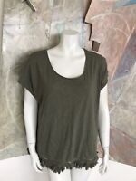 Chico's Olive Green Fringe Scoop Neck Shirt Blouse Top Size 2