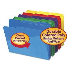 Smead Slash Pocket Poly File Folders, 1/3 Cut Top Tab, Letter, Assorted, 30/box