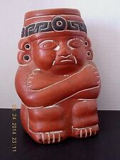 """VINTAGE 6-1/2""""  AZTEC INCA MAYAN INSPIRED DESIGN RED CLAY POTTERY FIGURAL VASE"""