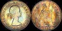 1966 GREAT BRITAIN ONE 1 PENNY ELIZABETH II BEAUTIFUL COLOR TONED IN HIGH GRADE