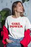 WOMENS  GIRLS LADIES GIRL POWER T SHIRT TOP  AGES 5-13 LADIES UK SIZE 8 -PLUS 22