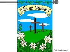 """HE HAS RISEN JESUS CHRIST CHRISTIAN GARDEN BANNER/FLAG 28""""X40"""" SLEEVED POLY"""