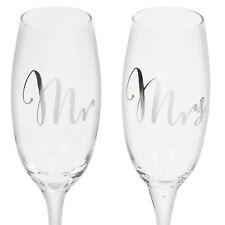 Mr and Mrs Champagne Flute Glass Set Wedding Anniversary Gift