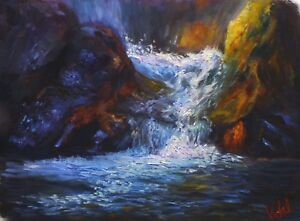 Original Landscape Oil Painting lower chasm waterfall by Vidal