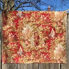 Antique Toile Fabric French ? 1870s ? Victorian Romantic Red 25� X 30� Piece #1
