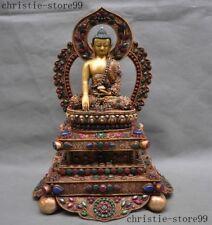 Tibet Buddhism Bronze 24k Gold Silver Filigree Shakyamuni Medicine Buddha Statue