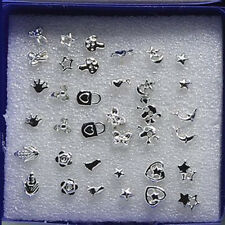18 Pairs Mix Styles Earrings Studs Pin Heart Cross Star Moon Fashion Jewelry Set