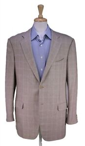 Ermenegildo Zegna Beige/Gray Woven Windowpane Silk-Cashmere 2-Btn Sportcoat 46L