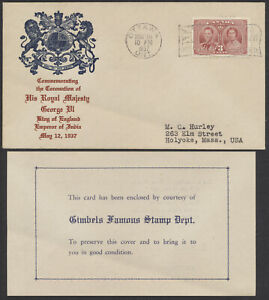 1937 #237 George VI Coronation FDC, Gimbels Insert, Ottawa Flag Cancel, Bend