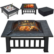 """32"""" Outdoor Metal Firepit Backyard Patio Garden Square Stove Fire Pit Mesh Cover"""