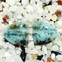 *Scenic peruvian blue  moss opal, cabochon  pair*