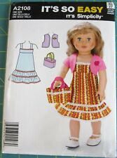 """2108 Simplicity It's So Easy 18"""" Doll Clothes One Size"""