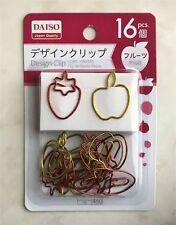Paper Clip Design Daiso Steel Clips Strawberry & Apple 16 pcs.