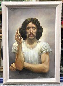 Tableau Huile Autoportrait  Mike Worrall Hyperréaliste Portrait D'homme 1970