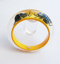 Summer yellow lucite bangle with exotic real insects