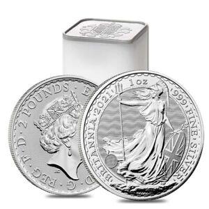 Roll of 25 - 2021 Great Britain 1 oz Silver Britannia Coin .999 Fine BU (Tube,