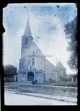 Eglise ville de France à identifier Vintage Grande Plaque verre Negatif 13x18 cm