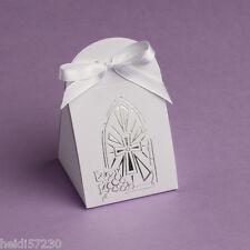 Lot de 10 boites à dragées iris communion croix argent avec ruban
