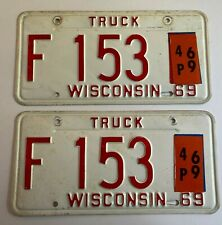 1969 Wisconsin Truck License Plate Ford Chevy Mack Dodge Gmc Commercial Pickup