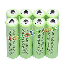 8 AA 2A 3000mAh Ni-MH rechargeable battery MP3 green