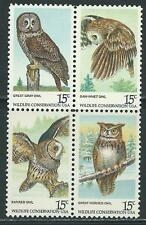 USA - MNH Block of 4  Stamps -  American Owls