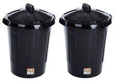 2 x 80L Black Waste Rubbish Kitchen Garden Plastic Bin Storage 80 litre Value