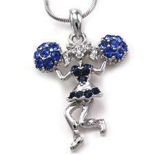 Blue Crystals High School Cheerleader Cheer Girl Pom Poms Pendant Necklace Charm