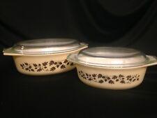 Pyrex Set of 2 Oval Casserole Dishes & Lids Golden Acorn Vintage #043 & #045
