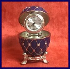 Opening Enamel and Jewelled Egg + Stand Clock Trinket Box Faberge Type