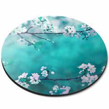 Round Mouse Mat - Blue Sakura Blossom Flowers Tree Office Gift #12697
