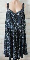 City Chic Dress Size Plus Xl Black Blue Pink Floral Sleeveless Fit Flare