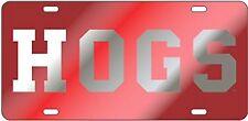 ARKANSAS RAZORBACKS Red / Mirrored HOGS Laser cut inlaid License Plate Car Tag