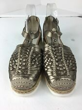 Progetto Bronze Leather Woven Huarache Style Espadrille Buckle Shoes Size 40/9M