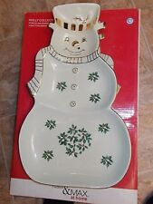 Madison & Max Porcelain Large Snowman 3 Section/ Server Platter,  Holly Berries