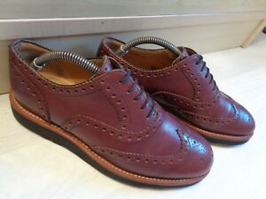 Bally oxford brogue UK 6.5 40.5 reddish brown wingtip Vibram sole Made in Italy