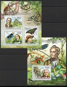 Central Africa 2011 MNH MS+SS, Entomologist, Butterflies, Insects