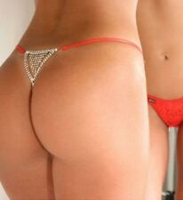 lingerie sexy coquine culotte string rouge strass arrière