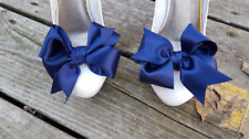 Navy Blue Shoe Clips, shoe clips, shoe bows, shoes clips, satin bows, clip ons