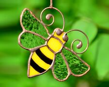 Stained glass bee suncatcher, windows glass decor, honey bee, garden decoration