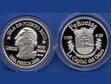 Silver PESETA PENUELAS 2009 Puerto Rico Boricua Quarter 1/100 Plata