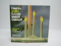 Vtg Timco Electric Christmas Candle 3 Light Candelabra Candolier Made in USA