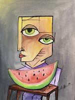 "PAINTING ORIGINAL ACRYLIC ON CANVAS PANEL CUBAN ART 9""X12"" By LISA."
