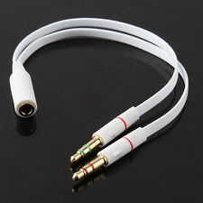 Newest ABS Headphone Audio Splitter Cable Female to Dual Male Converter Adapter