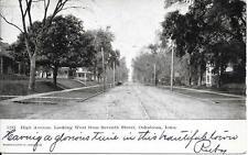High Ave look dwn Seventh St Oskaloosa Iowa NICE vintage postcard postally 1906