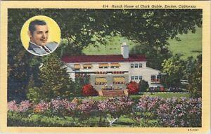 Linen postcard, Ranch home of Clark Gable, Encino, California