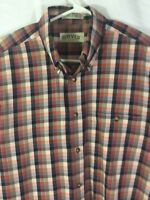 Orvis Mens Button Front Shirt Multicolor Check Large 100% Cotton Long Sleeve