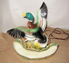 """Vintage 50s Lane Ceramic Flying Duck TV Lamp & Planter 15"""" Tall"""