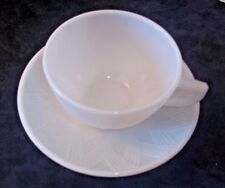 VINTAGE HAZEL ATLAS MILK GLASS STARLIGHT PATTERN CUP AND SAUCER SET