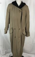 Laura Winston Collection Hooded Trench Coat Khaki With Black Lining Women's 14